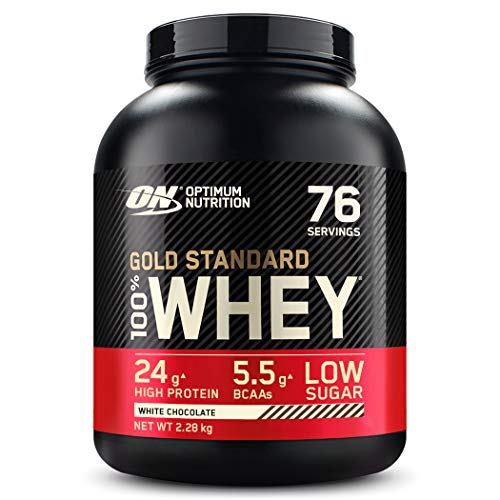 Optimum Nutrition ON Gold Standard Whey Protein Pulver, Eiweißpulver zum Muskelaufbau, natürlich enthaltene BCAA und Glutamin, White Chocolate, 76 Portionen, 2.28kg, Verpackung kann Variieren