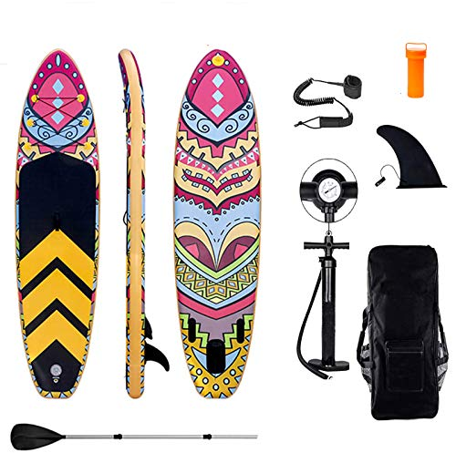 Inflatable Stand Up Paddle Board, 10'6''x32''x6'' Durable Lightweight Touring ISUP, All-inclusive SUP Accessories, for All Skill Levels With Adjustable Paddle/Fin/Pump/Leash/Backpack/Repair Kit