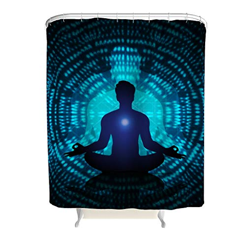 Charzee douchegordijn yoga blauw patroon antibacterieel schimmel resistent navy gordijn b x h: 150x200cm badkuip gordijn met ringen
