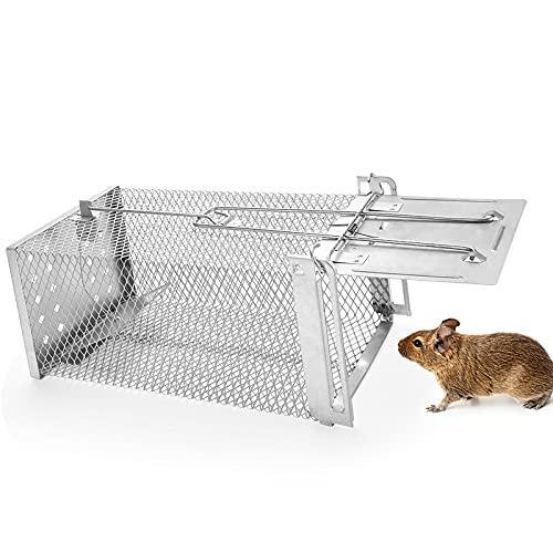 Trampa para Ratones, Metal Trampas para Ratas Vivos,Trampa para Roedores Reutilizables Adecuado como Ratas, Ratones u Otros Salvajes para Interiores y Exteriores Hogar, Ático, Cocina,Jardín- Plata