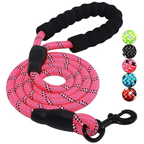 LILONGXI hondenriem, modieus, roze, nylon, riemp, reflecterend, voor hals, tractie-rope, nylon, tractie, riem dog riem puppy outdoor wandelveiligheidstraining, maat M