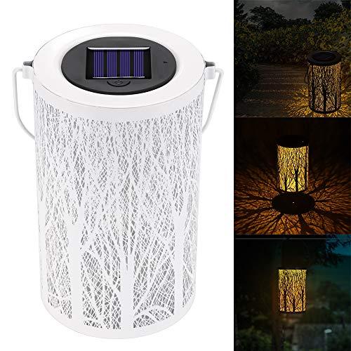 Powstro Luces de linterna solar Linterna de jardín decorativa al aire libre IP 44 Luces solares LED impermeables Lámpara cilíndrica de metal Sombra de árbol Luz nocturna para patio Patio al aire libre