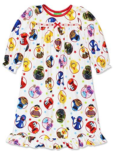 Sesame Street Elmo Infant Toddler Girls Granny Gown Nightgown (18 Months, White)