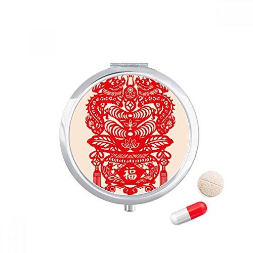 DIYthinker China Rode Draak Vis Blad Patroon Reizen Pocket Pill Case Medicine Drug Opbergdoos Dispenser Spiegel Gift