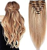 50 CM Extension a Clip Cheveux Naturel 8 Bandes Rajout Vrai Cheveux Humain 20 Pouce (150g) - #18+613 SABLE BLOND MECHE BLOND CLAIR