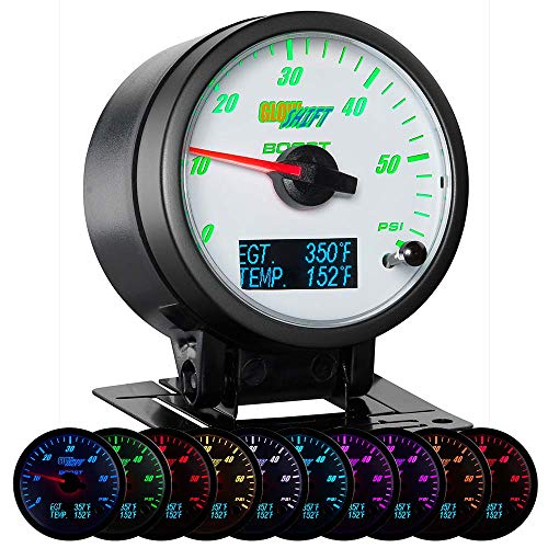 GlowShift 3in1 Analog 60 PSI Boost Gauge Kit with Digital 2200 F Pyrometer Exhaust Gas Temp EGT & 300 F Temperature Readings - 10 Selectable LED Colors - White Dial - Clear Lens - 2-3/8' 60mm