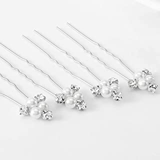 Asooll Bride Wedding Pearl Bead Hair Pins Bridal Crystal Hair Piece Accessories Decorative for Women and Girls(pack of 5) (Silver)