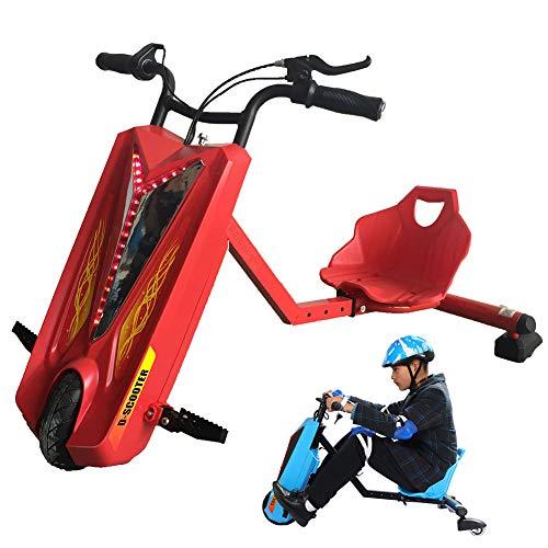 Fly Elektro Motor Dreirad Drift-Trike Electric Go Kart Scooter 3-Rad Mit Einstellbarer Länge ABS-Material, Kinder Jungen Und Mädchen, Ages 6 Years+,Rot