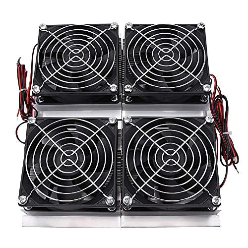 Enfriador de Placa Fría Termoeléctrico Peltier de Radiador de Placa de Refrigeración Semiconductora de 240 W con 4 Ventiladores para Refrigeración de Espacios Pequeños