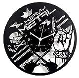 Instant Karma Clocks HMetal01 - Reloj de Pared de Metal Resistente con batería para Guitarra Roca, bajo, Madera, Color Negro