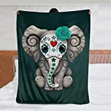 JASMODER Teal Blue Sugar Skull Baby Elephant Throw Blanket Warm Ultra-Soft Micro Fleece Blanket for Bed Couch Living Room
