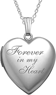 """""""Forever in My Heart"""" Locket Necklace That Holds Pictures in Sterling Silver - 3/4 Inch X 3/4 Inch - Includes 18 inch Chain"""