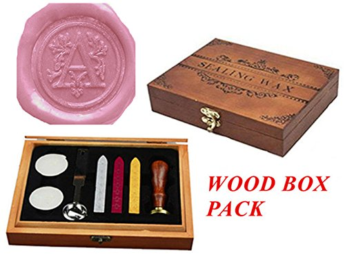 Luxury Letter A Wood Gift Box Pack Vintage Alphabet Initial Engraved Wedding Invitation Classical Old-fashioned Antique Wax Seal Sealing Stamp Wax Sticks Melting Spoon Stamp Maker Gift Box Kit Set (A)