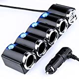 Global Technology KFZ 12V/24V Auto Verteiler 6 Fach - 4X Zigarettenanzünder Adapter mit 2X USB Ladegerät 120W für Handy Smartphone GPS Navigation - Ladesteckdosen LED EINWEG