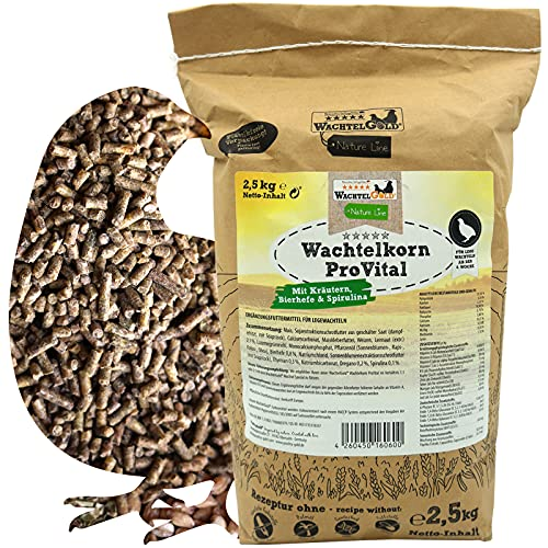 WachtelGold Wachtelfutter 2,5kg - Wachtelkorn ProVital - ohne Gentechnik, ohne Palmöl - Legefutter, Legekorn