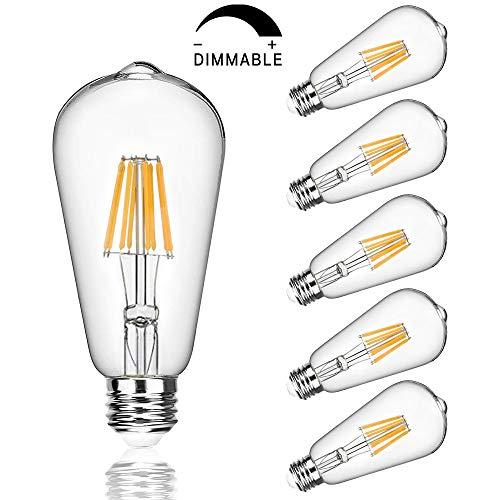 Edison Led Bulbs Dimmable Light Bulb 8W - 75 Watt Equivalent Vintage Style Filament Bulb 2700K Warm White E26 650 Lumen 6-Pack