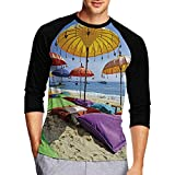 Hitecera Pristine Beach bathed by The Sea,T-Shirts Top Tees Athletic Shirts for Men Women M