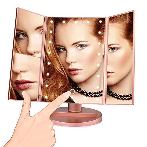 Pkfinrd LED-touchscreen, 22 make-up, licht, make-upspiegel, bureau, 1 x / 2 x / 3 x / 10 x vergrootglas verstelbaar