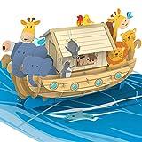 PaperCrush® Pop-Up Karte Arche Noah [NEU!] - Besondere 3D Geburtstagskarte für Mädchen und Jungen, Taufkarte für Patenkind - Glückwunschkarte zur Taufe oder zum Kindergeburtstag