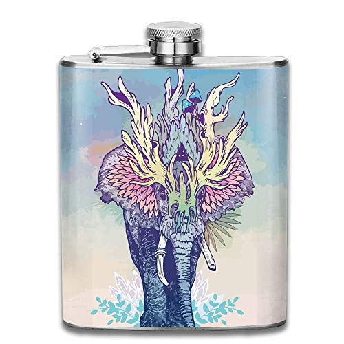 iuitt7rtree Elephant Art Portable Stainless Steel Flagon Liquor Flask