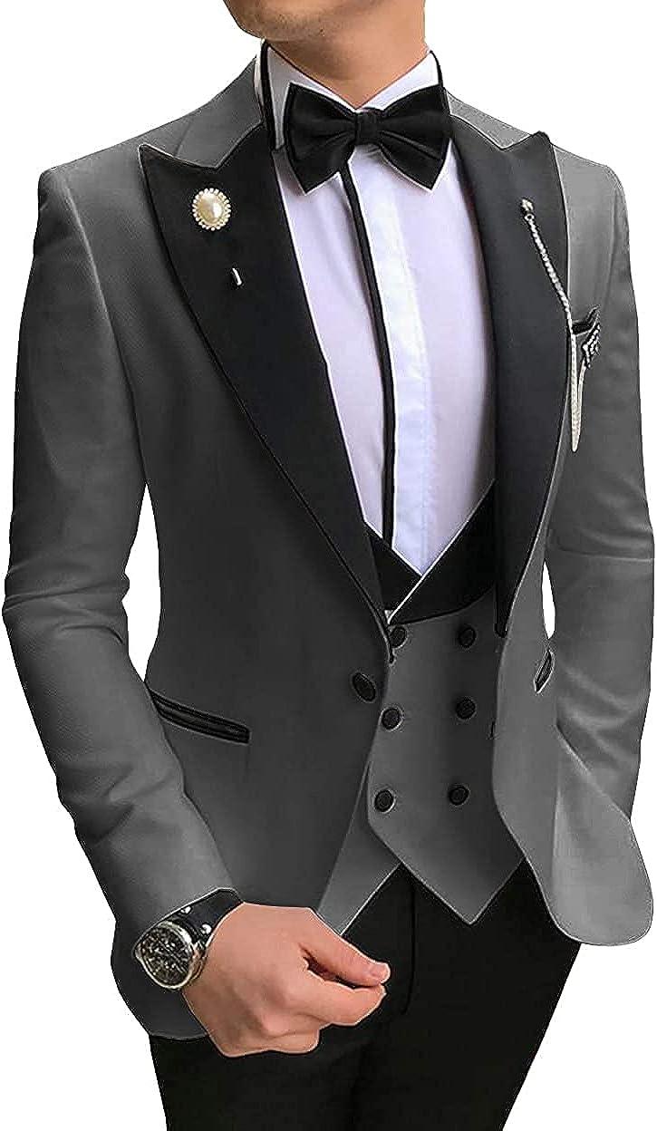 Men's Suit 3 Pieces One Button Notch Lapel Wedding Groom Tuxedos Best Man Blazer