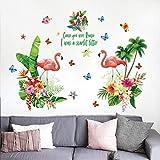 Pegatinas de pared para dormitorio, gran flor de flamenco, autoadhesivo, acrílico, baño, refrigerador, oficina,...