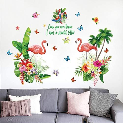 Pegatinas de pared para dormitorio, gran flor de flamenco, autoadhesivo, acrílico, baño, refrigerador, oficina, cumpleaños, niños, pegatinas de decoración extraíbles a prueba de agua, 157x115cm