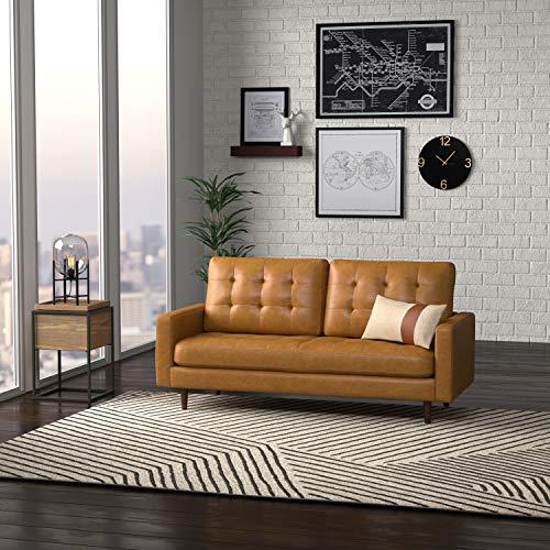 "Amazon Brand – Rivet Cove Mid-Century Modern Tufted Leather Apartment Sofa, 72""W, Caramel"