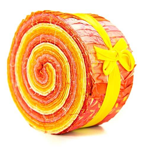LoudElephant Baumwoll-Batik vorgeschnittene Stoffbündel-Rolle, Jelly Roll Honigorange