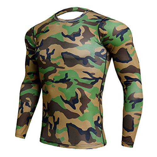 Shirt Herren Rundhals Slim Fit T-Shirt Fitness Sport Moderner Camouflage Männer Bodybuilder Trainings Lauf Tops Gym Seamless Funktionsshirt Kompression Hemd Herren 3XL