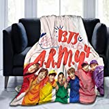 BTS Blanket Kpop Cute Wallpaper Super Soft Flannel Throws Blankets Suitble Couch Sofa Office LightweightPlush for Adults and Children to Use