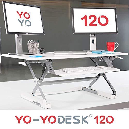 Yo-Yo DESK 120 (Weiß) | Steh Sitz Schreibtisch Aufsatz - TÜV Rheinland geprüft - Schreibtisch höhenverstellbar (120 cm breit) für Ihren gesunden und produktiven Steharbeitsplatz
