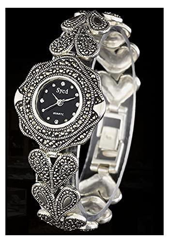 CHXISHOP Reloj de Pulsera Retro gótico Negro, Reloj para Mujer 925 Reloj de Plata esterlina Tipo de Flor Redondo con Reloj de Pulsera de corazón de durazno black-18.5cm