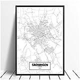 HJZBJZ Groningen, Niederlande Schwarz Weiß Weltstadtplan