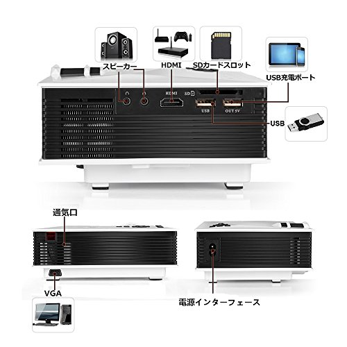 『UNIC UC46 LEDプロジェクター 1080P WIFI無線接続 1200ルーメン IOS10も対応 ホームシアター 会議用 (白)』の7枚目の画像