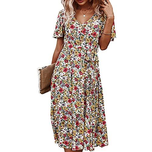 Damska Długa Spódnica Maxi Dekolt W Serek Drukowana Sukienka Artystyczna Z Krótkim Rękawem Spódnica Do Połowy Długości Spódnica Plażowa Letnia Sukienka (biały+XL)