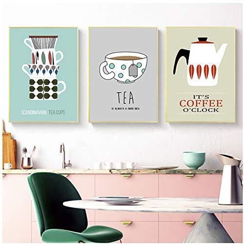NIESHUIJING druk op canvas cartoon plezier keuken thee kop thee koffie canvas schilderij poster en afdrukken muurkunst schilderij-50x70 cm geen lijst