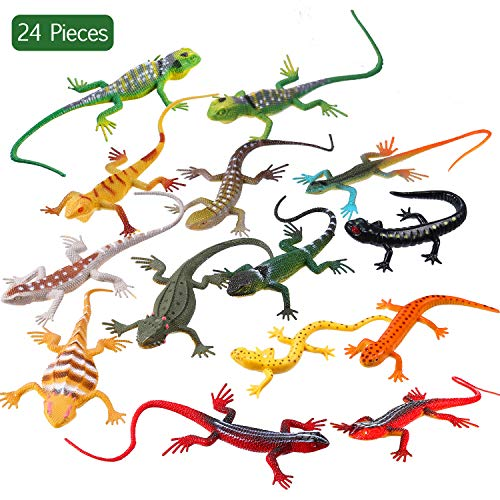 24 Piece Artificial Model Reptile Lizard Colorful Plastic Lizards Toy Action Figure Educational Toys for Kids Adults Gifts 12 Designs