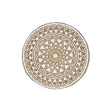 Alfombra Decorativa Redonda (0) 90 cm Yute Estampado silha Blanco