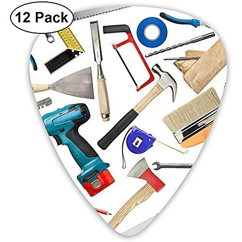 12 stuks gereedschap metaal hout zaag ronde mes hamer nagel gitaar picks complete gift set voor gitarist