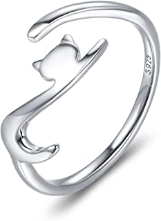 Cat Ring, 925 Sterling Silver Cute Kitty Sticky Cat Ring with Long Tail Opening Mouth Ring, Simple Wedding Finger Ring for Women Girls BJ09061