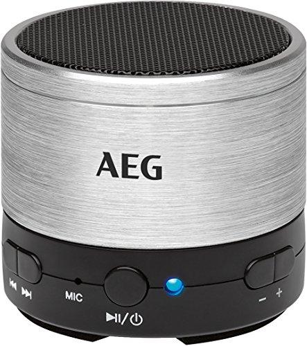 AEG BSS 4826 Bluetooth-Soundsystem/USB/AUX-IN inkl. Freisprecheinrichtung, Akku, Aluminiumgehäuse silber