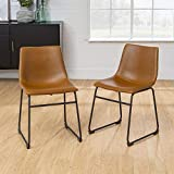 Walker Edison Furniture Company 18' Industrial Faux Leather Armless Indoor Kitchen Dining Chair with Metal Legs Upholstered, Set of 2, Whiskey Brown