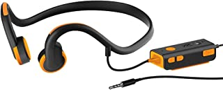 Docooler Bone Conduction Headsets Wired Earphone Outdoor Sport Headphones Noise Reduction Hands-Free with Mic Black with Orange for Smart Phones Tablet PC Notebook