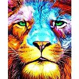 Handaxian Cuadro sobre Lienzo,Impresión en Lienzo Foto,Pintura Mural Impresión de Arte Cuadro in Lienzo Sala Dormitorio-Cara de león Coloreada(50x75cm) Sin Marco