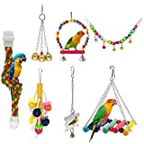 McFeddy Bird Toy Bird Swings Parrot Chew Toy,Pet Hammock Swing Toy,Hanging Bell Small Pet Bird Cage Toy, Suitable for Small Parrots, Macaws, Starlings, Love Birds, Finch and Other Small Birds (A)