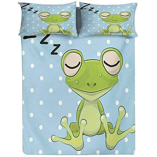 Fitted Sheet Queen Size,Sleeping Prince Frog in a Cap Polka Dots Background Cute Animal World Kids Design Decorative Printed 2 Piece Bedding Decor Set,Elasticized Deep Pocket Fits All Mattresses