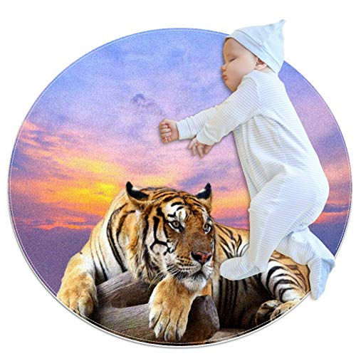 Floor mat Tiger Rest Nursery Round Rug for Kids Room Soft and Smooth Suede Surface Non-Slip Castle Tent Game mat Best Gift for Your Kids 2feet 7.5inch