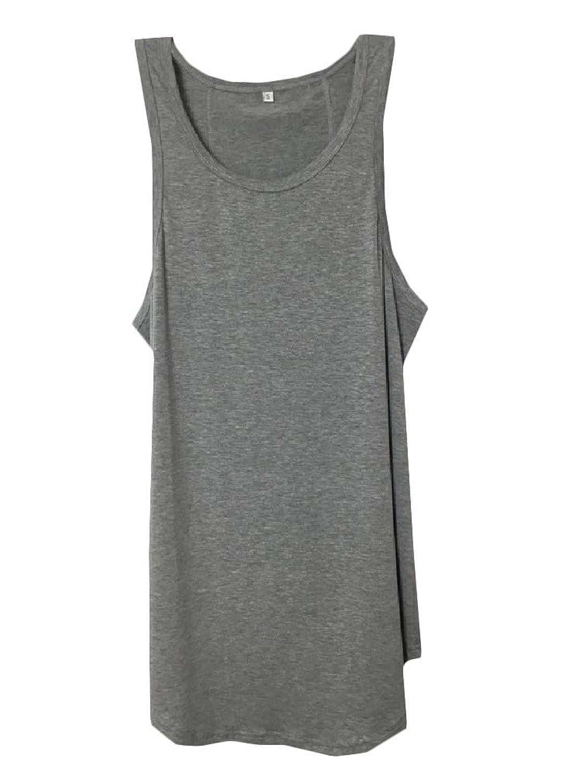 YAXINHE メンズソリッドコットンコットンアスレチック快適タンクトップシャツ