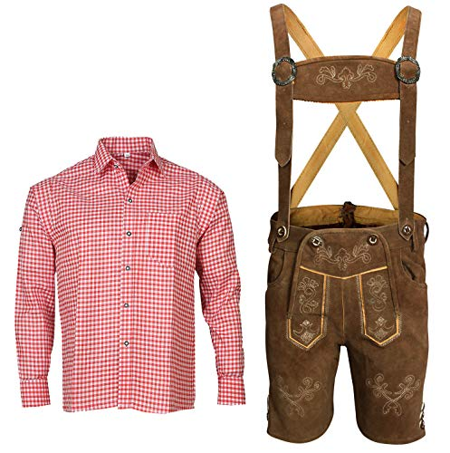Herren Trachten Set Lederhose mit Trägern + Trachten Hemd Bayerische Oktoberfest (Hose + Hemd) BKR01 (Lederhose 52 + Hemd L)